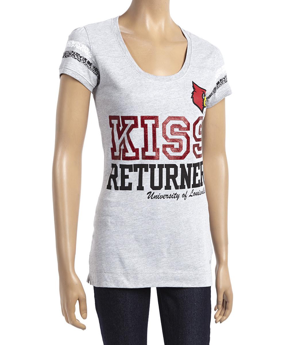 sale retailer 9d3c4 9a2e9 Louisville Cardinals Football T-Shirt- Kiss Returner Grey (#41369 / 6 pack)
