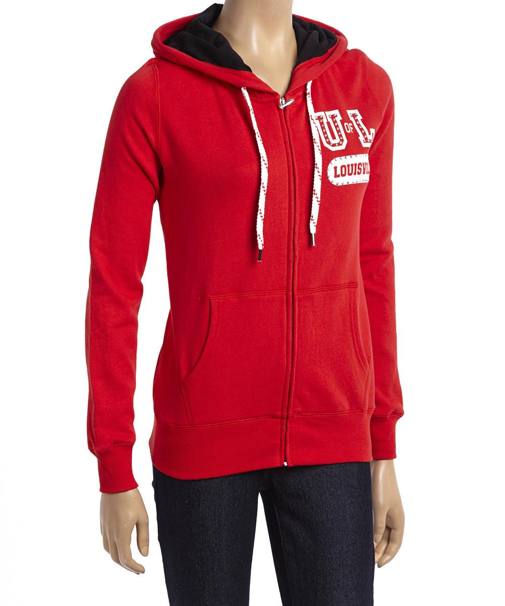 brand new 3526d 7bb1a Louisville Cardinals Sweatshirt- Red Star Studded Zip Front ...